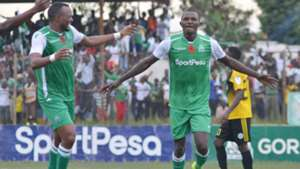 SAMUEL ONYANGO of Gor Mahia celebrates with Jacques Tuyisenge.
