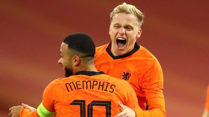 Memphis Depay, Donny van de Beek, Netherlands vs Spain 2020