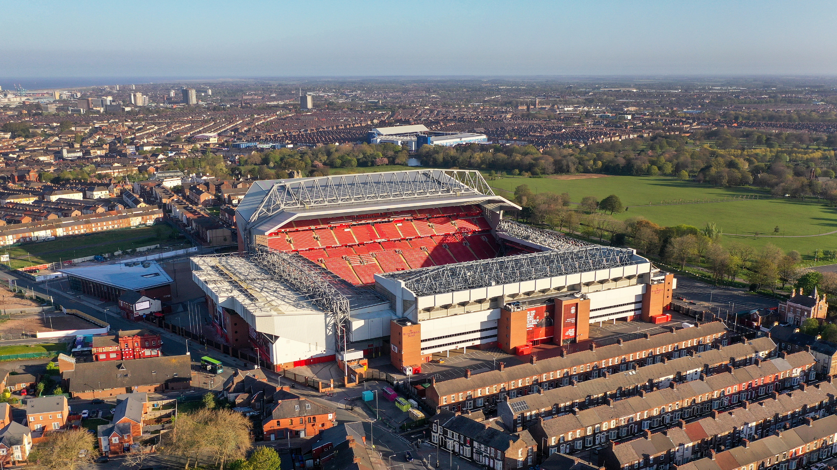 How close is Liverpool's Anfield to Everton's Goodison Park?