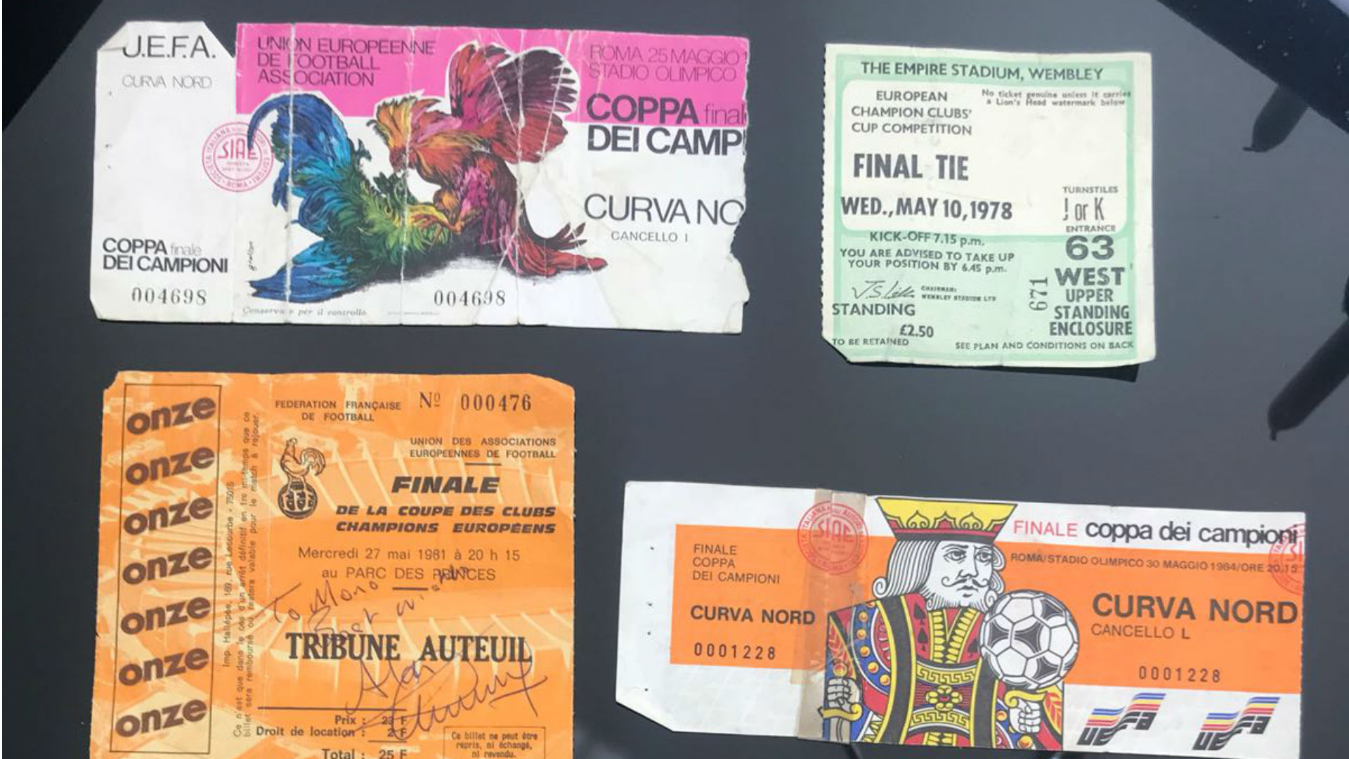 Stephen Monaghan's Liverpool European Cup final ticket stubs
