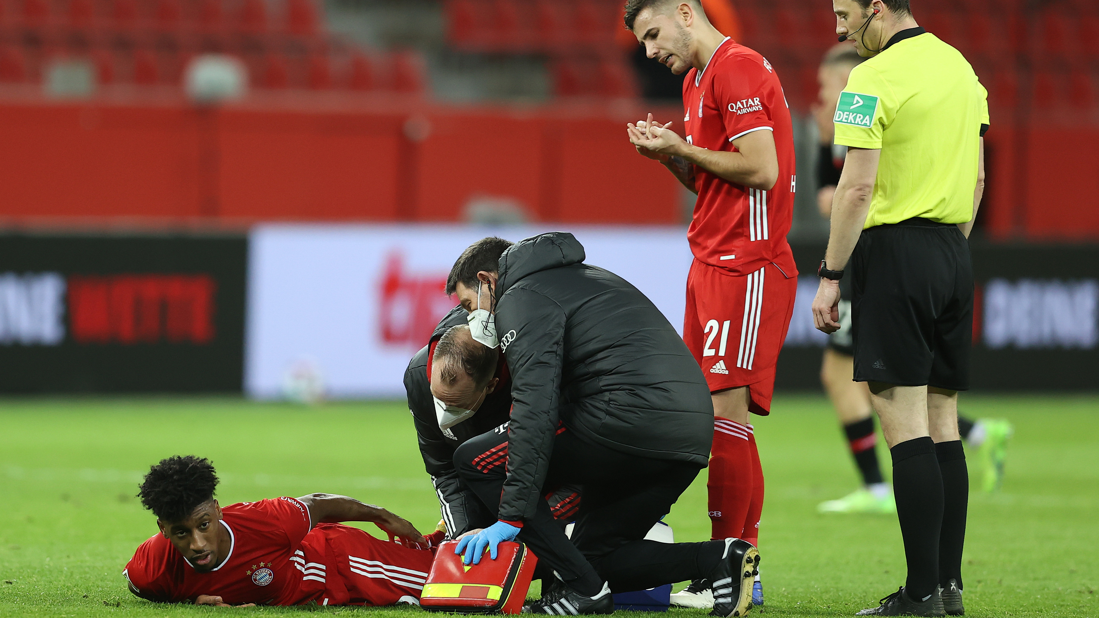 Bayern Munich give Coman injury update after winger limped off against Leverkusen