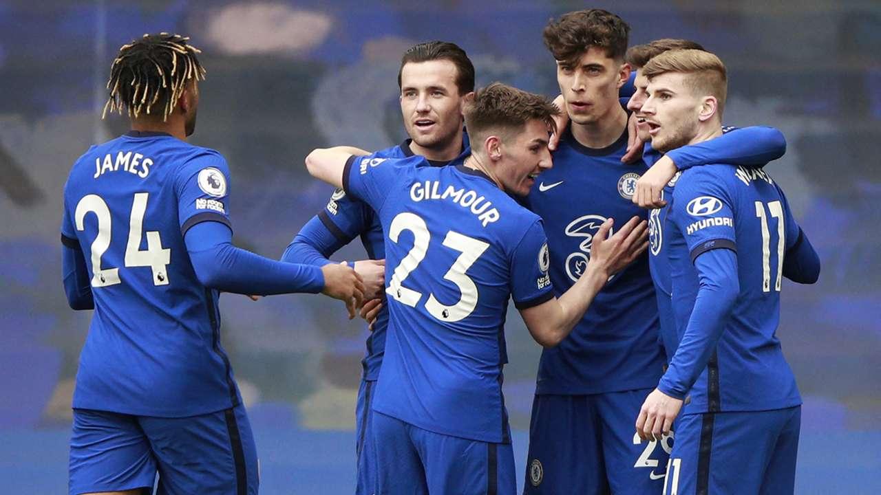 Chelsea celebrating Kai Havertz goal 2020-21