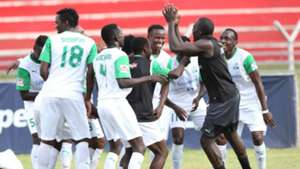 Gor Mahia players celebrate v Chemelil Sugar