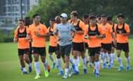 Hong Kong team train for the world cup qualifying match.