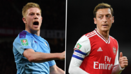 Kevin De Bruyne Manchester City Mesut Ozil Arsenal 2019-20