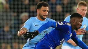 Kyle Walker Kelechi Iheanacho Manchester City Leicester