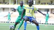 Gor Mahia defender Joash Onyango v Fred Nyarombo of Western Stima.