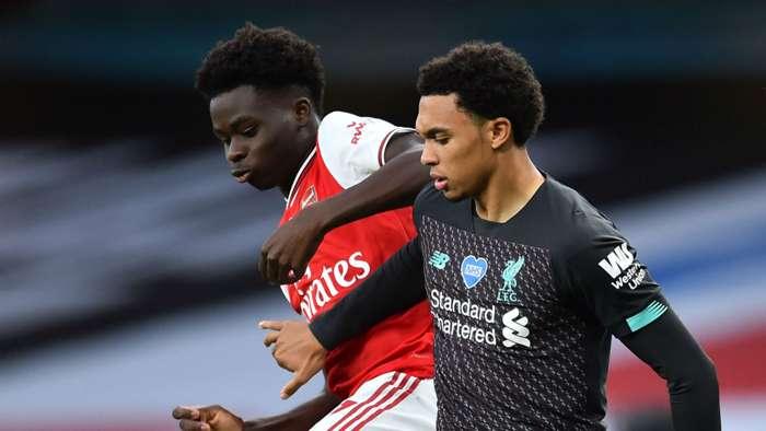 Bukayo Saka Trent Alexander-Arnold Arsenal Liverpool 2019-20