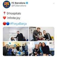 지역 어린이 병원에 방문한 바르셀로나 선수단과 코치진. 사진=게티이미지지역 어린이 병원에 방문한 바르셀로나 선수단과 코치진. 사진=바르셀로나 공식 트위터