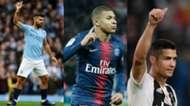 Collage Agüero Mbappe Ronaldo