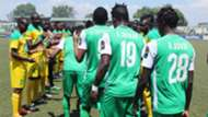 Mathare United provide guard of honour for Gor Mahia.