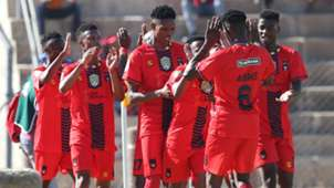 Samukelo Shangase of TS Galaxy celebrates his goal with his teammates, September 2019