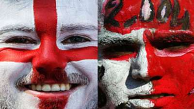 Composite of an England and Tunisia fan ahead of the sides Group G match at 2018 World Cup in Russia