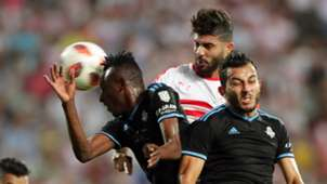 Eric Traore and Ahmed Ayman Mansour of Pyramds vs Zamalek