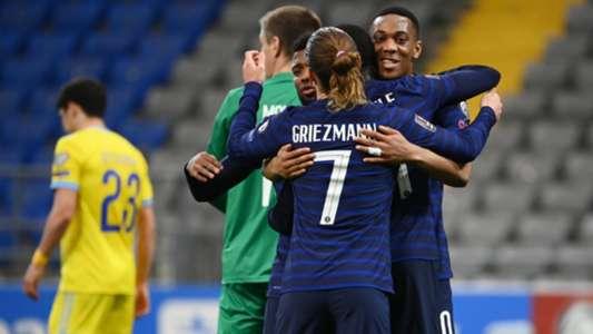 รัวยิงครึ่งแรก! ฝรั่งเศสบุกทุบคาซัคสถาน 2-0   Goal.com