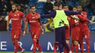 Fiorentina players celebrating Sassuolo Fiorentina Serie A