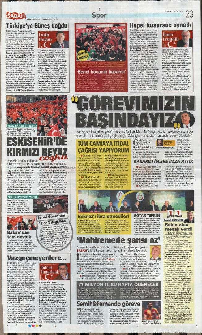 Gazete sayfaları 26032019