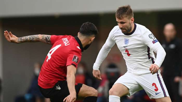 Luke Shaw Albania vs England 2022 World Cup qualifier