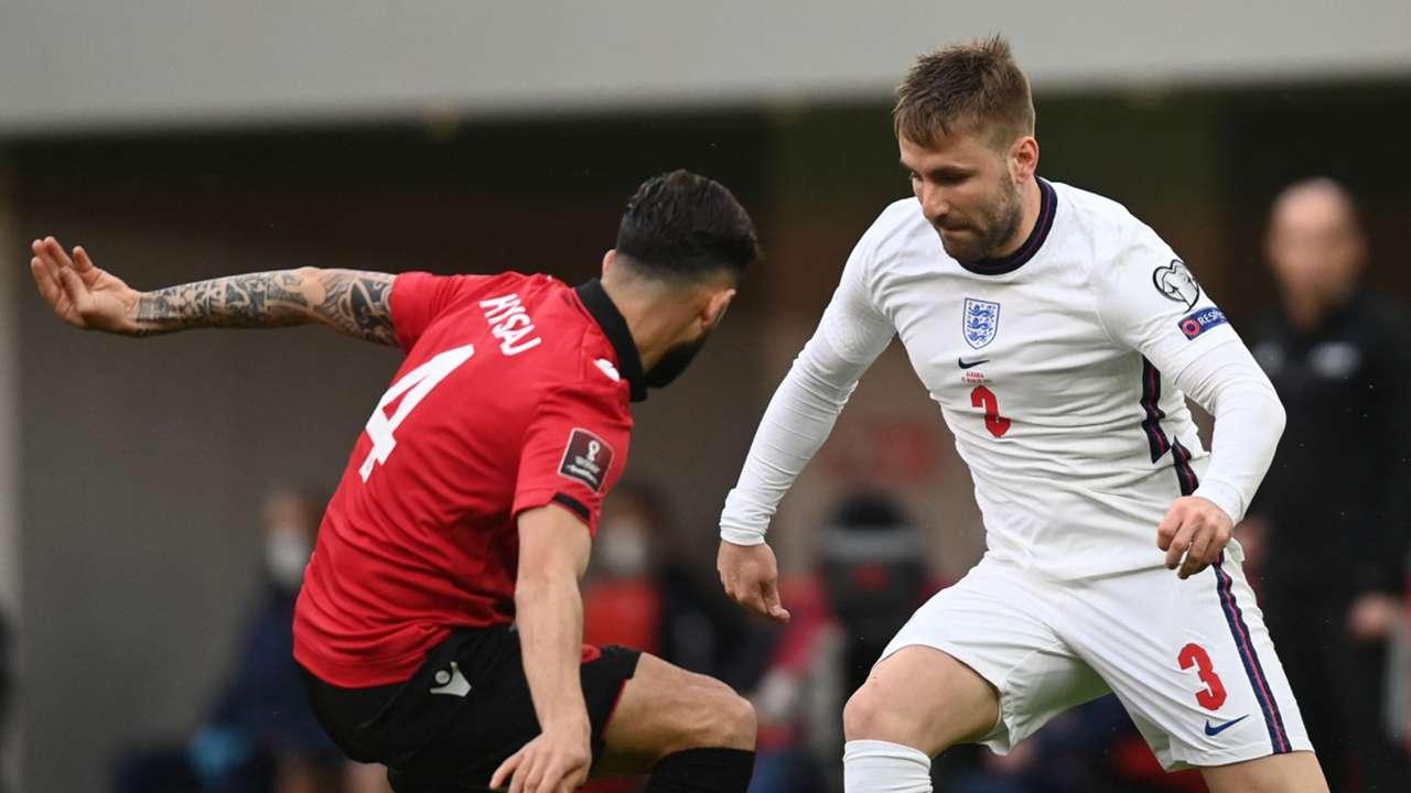 Luke Shaw Albania vs England 2022 World Cup qualifier