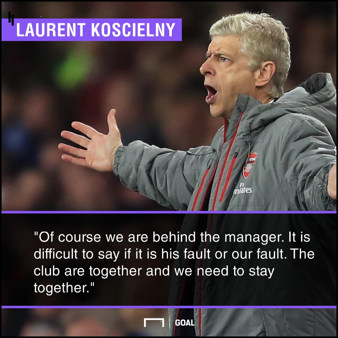 Arsene Wenger Laurent Koscielny support