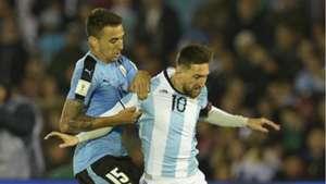 Lionel Messi Matias Vecino Argentina Uruguay South America World Cup qualifying