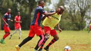 AFC Leopards players Aziz Okaka and Whyvonne Isuza.