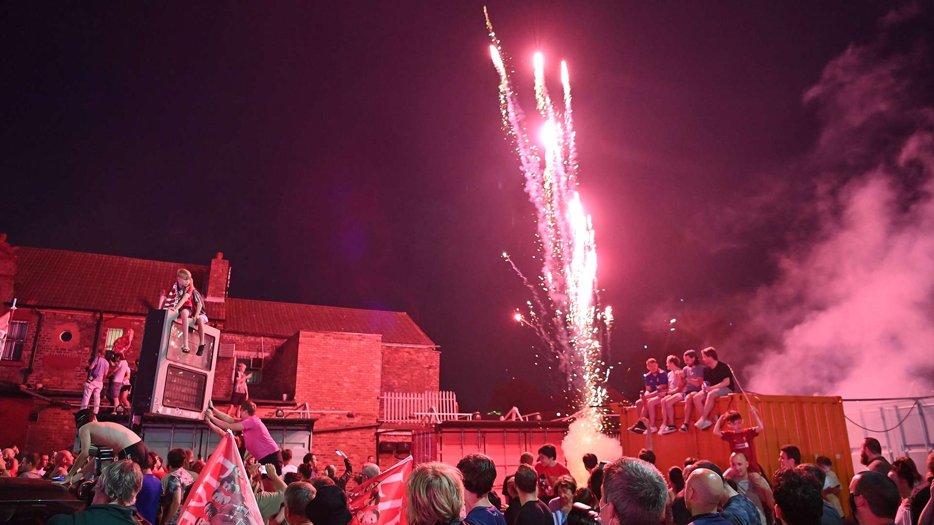 Video Jubilant Liverpool Fans Condemned For Wild Title Celebrations As Firework Hits Building Causes Fire Goal Com