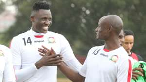 Michael Olunga and Dennis Odhiambo of Harambee Stars.