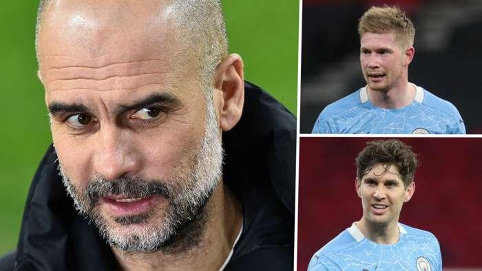 Pep Guardiola Kevin De Bruyne John Stones Manchester City GFX