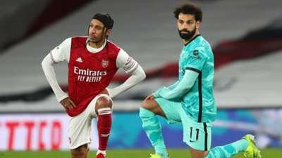 Pierre-Emerick Aubameyang of Arsenal, Liverpool's Mohamed Salah