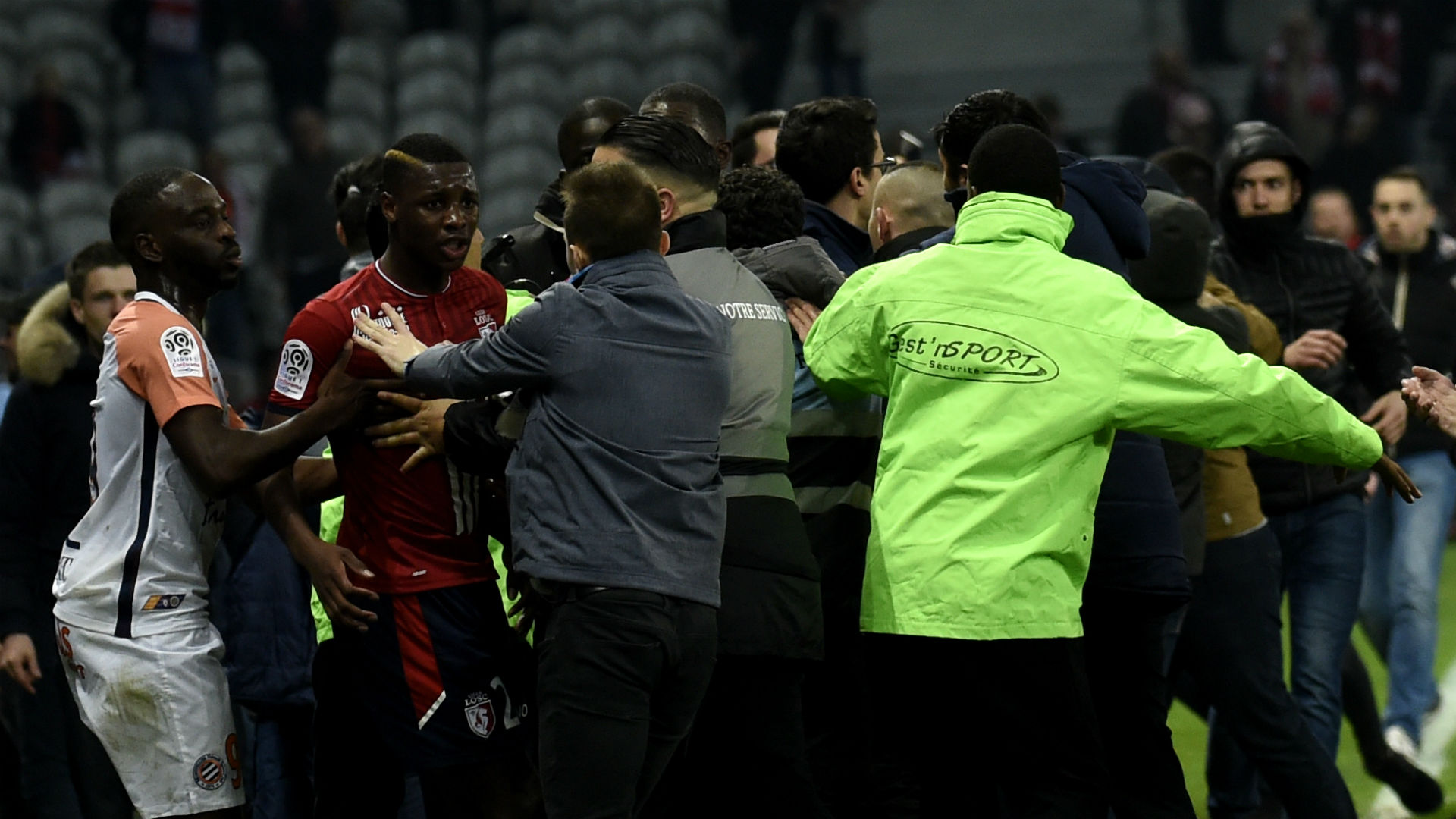 Lille fans invade pitch