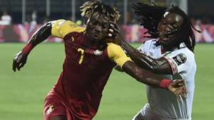 Ghana midfielder Christian Atsu and Benin's midfielder Sessi D'Almeida during the 2019 Africa Cup of Nations