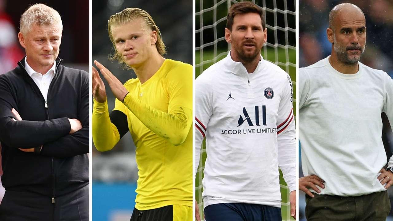 Ole Gunnar Solskjaer Erling Haaland Lionel Messi Pep Guardiola GFX