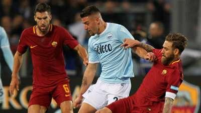 Milinkovic-Savic Strootman De Rossi Roma Lazio Serie A