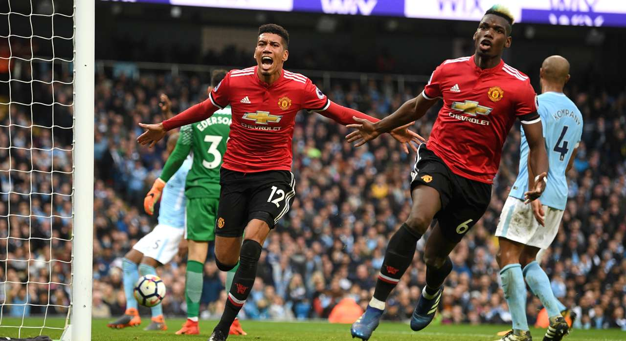Chris Smalling Paul Pogba Manchester United Manchester City