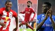 Patson Daka, Mohamed Salah and Paul Onuachu.