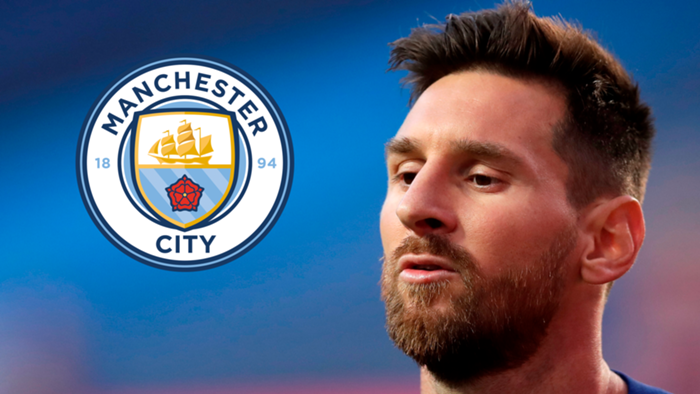 Lionel Messi Barcelona/Man City logo 2019-20
