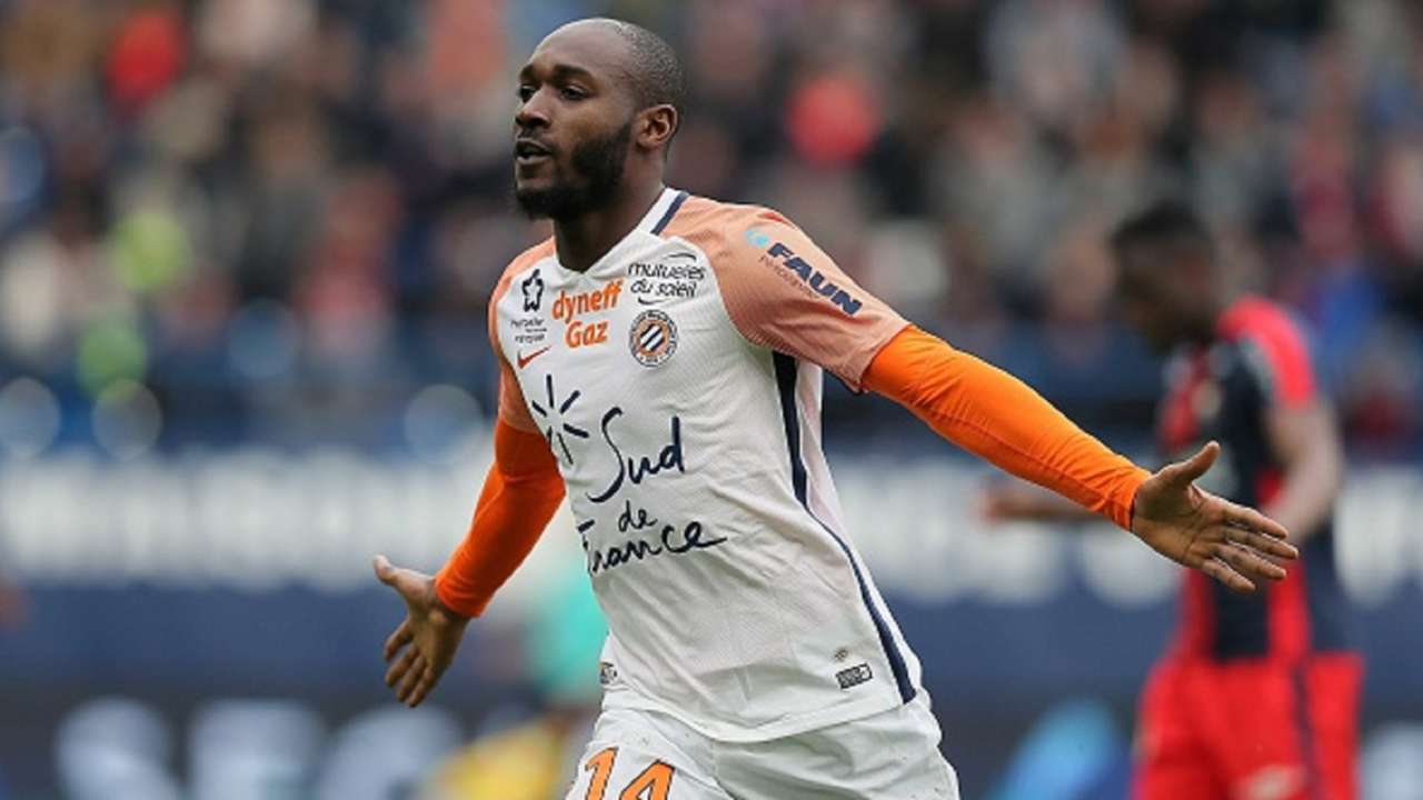 Giovanni Sio of Montpellier celebrates the third goal during the Ligue 1 match between SM Caen and Montpellier on April 1, 2018