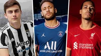 Paulo Dybala, Neymar e Virgil van Dijk - novos uniformes Juventus, PSG e Liverpool 2021/22