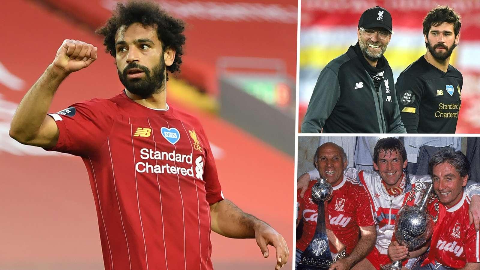 Mohamed Salah Jurgen Klopp Alisson Liverpool 2019-20 GFX