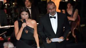 Ilaria D Amico and former Dutch footballer Ruud Gullit speak during The Best FIFA Football Awards ceremony