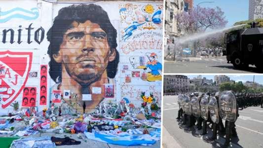 Lộn xộn tại tang lễ của Maradona, cảnh sát phải can thiệp bằng vòi rồng