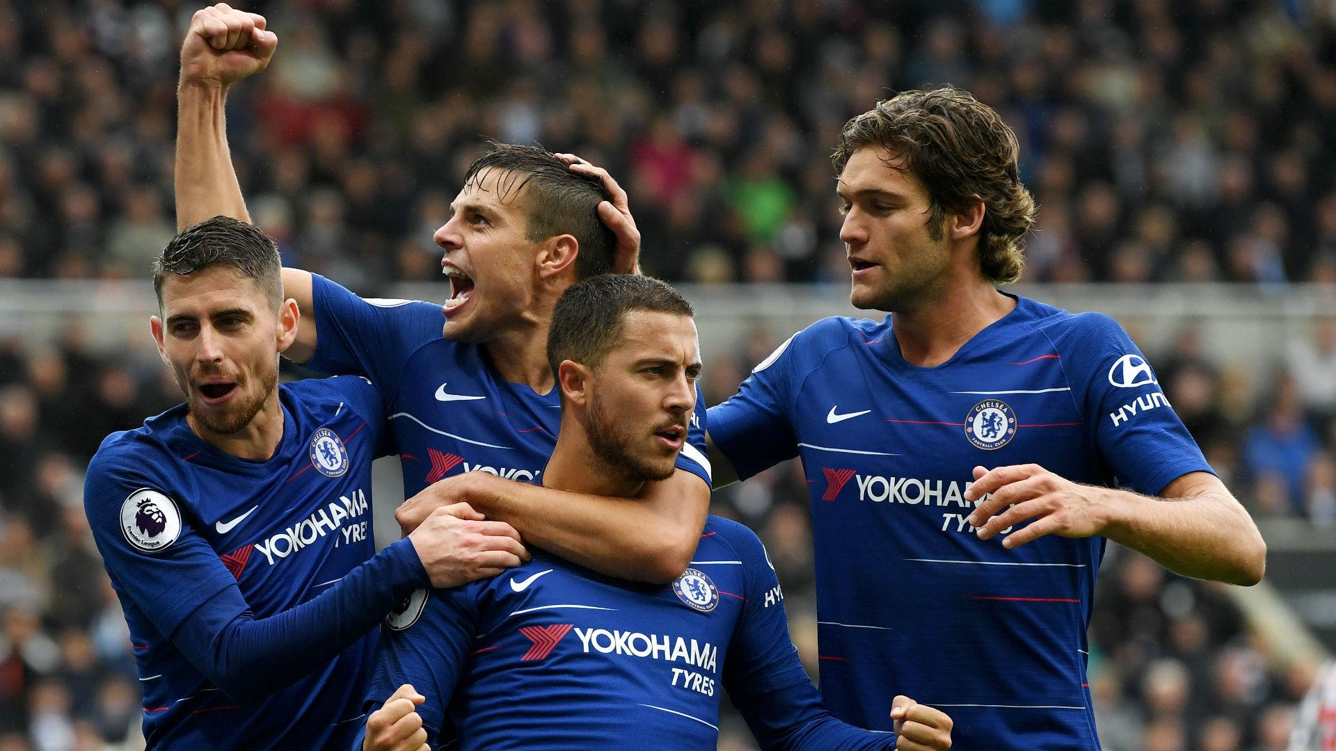 Jorginho Cesar Azpilicueta Eden Hazard Marcos Alonso Chelsea 2018-19