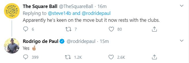 EMBED ONLY Rodrigo De Paul tweet, Leeds, Udinese