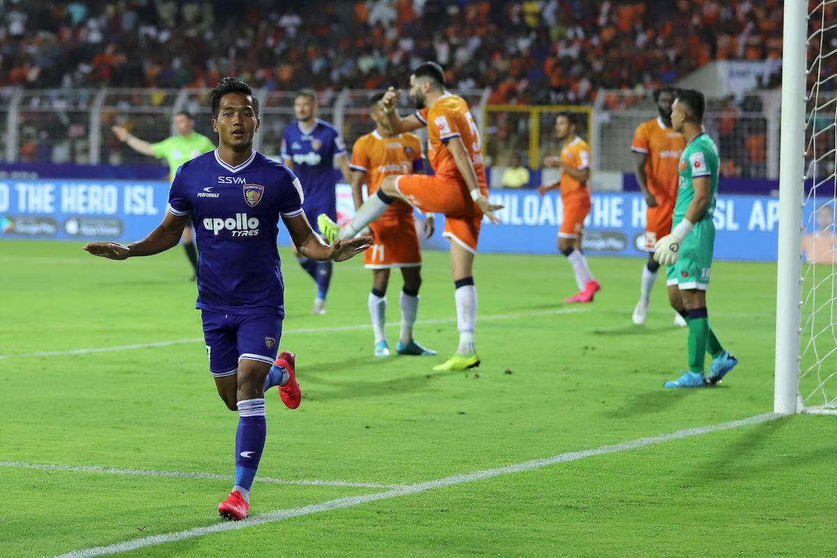 Lallianzuala Chhangte scores; FC Goa vs Chennaiyin FC