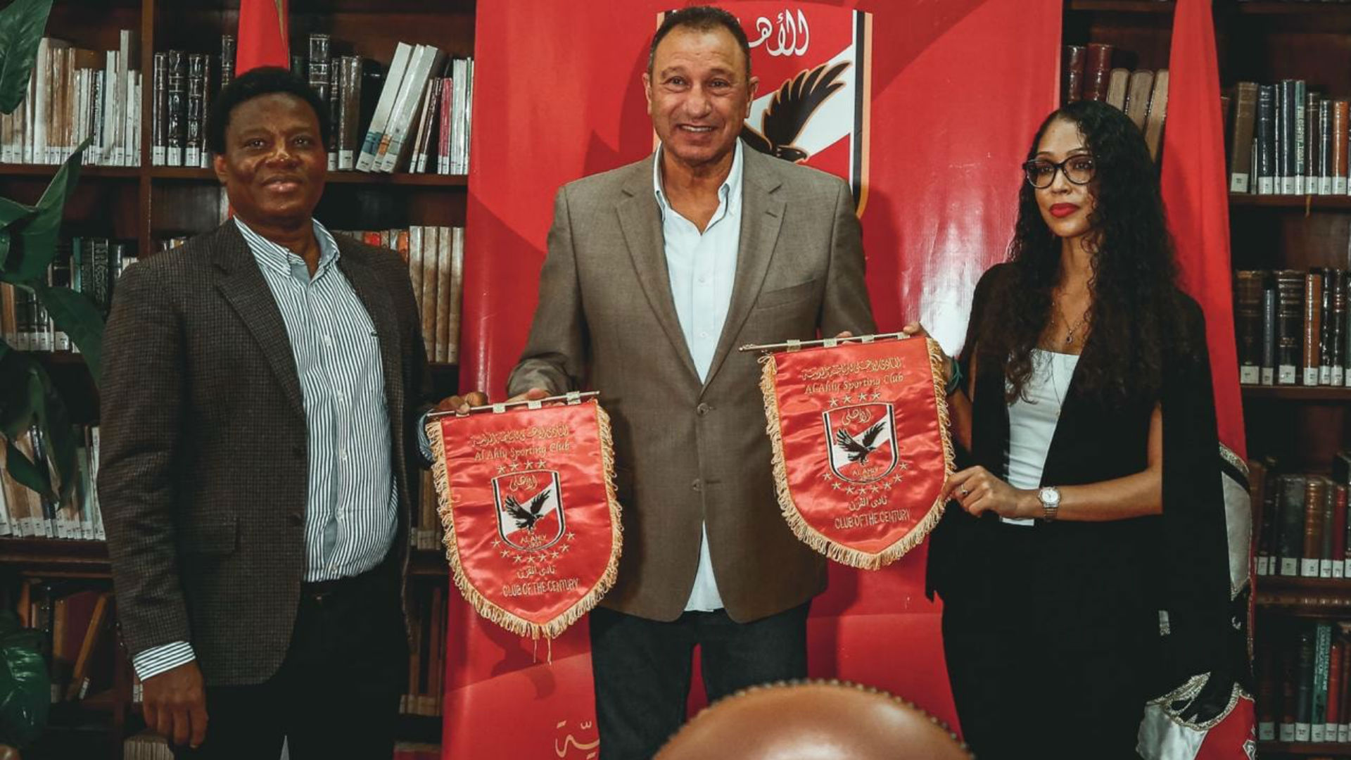 Barbara Gonzalez of Simba SC with Al Ahly officials.