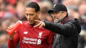 Virgil van Dijk Jurgen Klopp Liverpool 2018-19