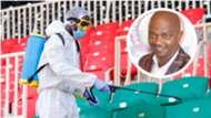FKF boss Nick Mwendwa and Nyayo Stadium.