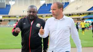 Kenya coach Francis Kimanzi and Sebastien Migne.