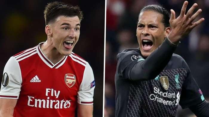 Kieran Tierney Virgil van Dijk Arsenal Liverpool 2019-20